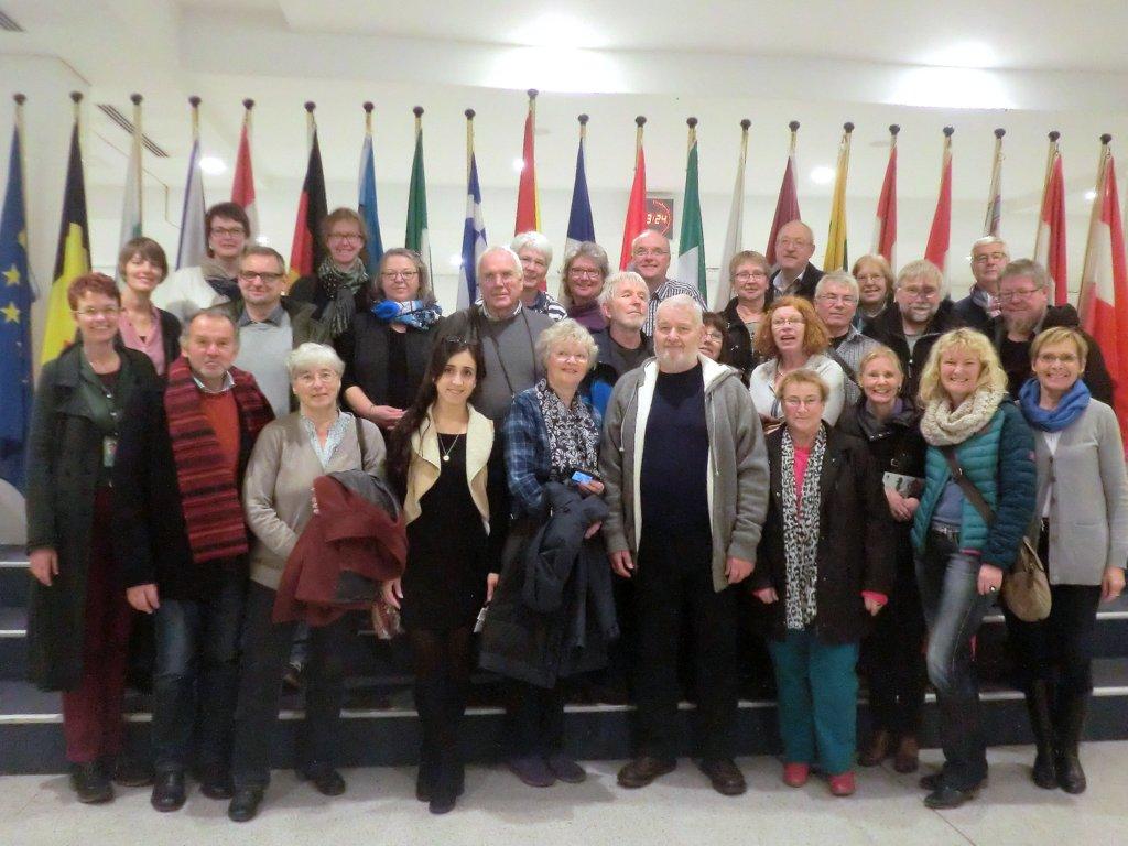 Unsere Besuchsgruppe im Voyer des EU-Parlaments